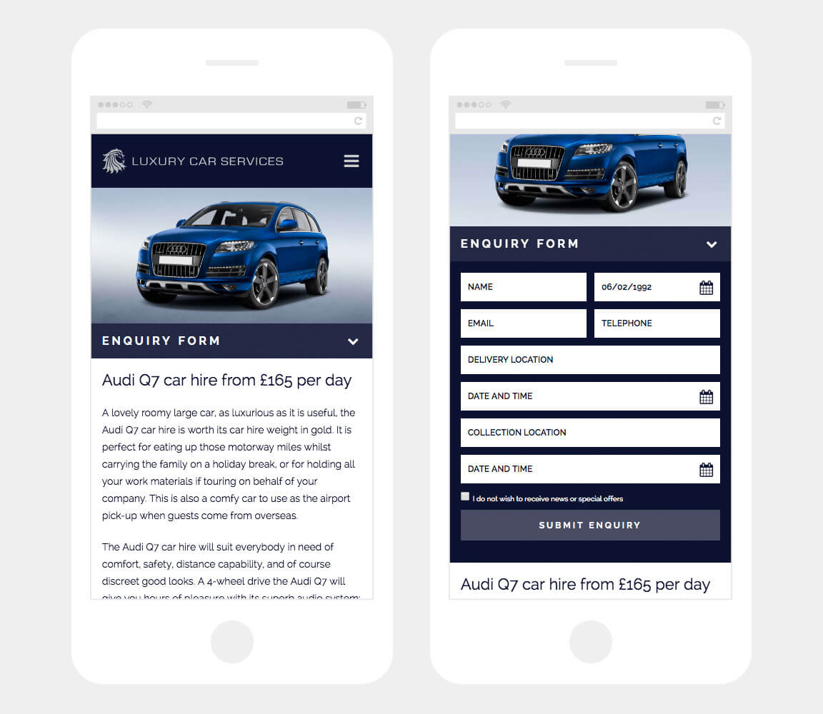 Mobile Booking Form